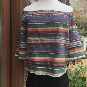NWT ANTHROPOLOGIE dRA Striped Off Shoulder Blouse